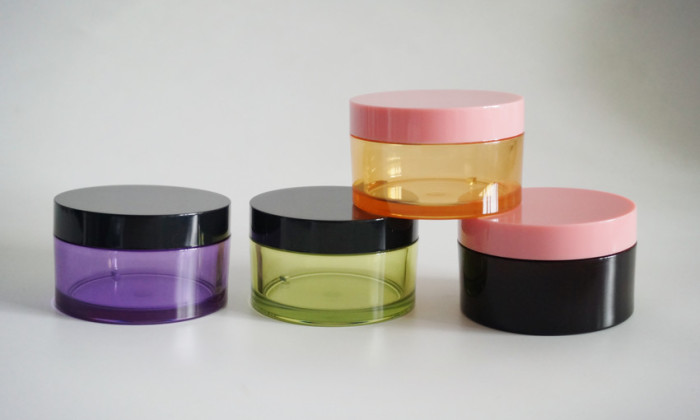 glass like plastic cosmetic jar container