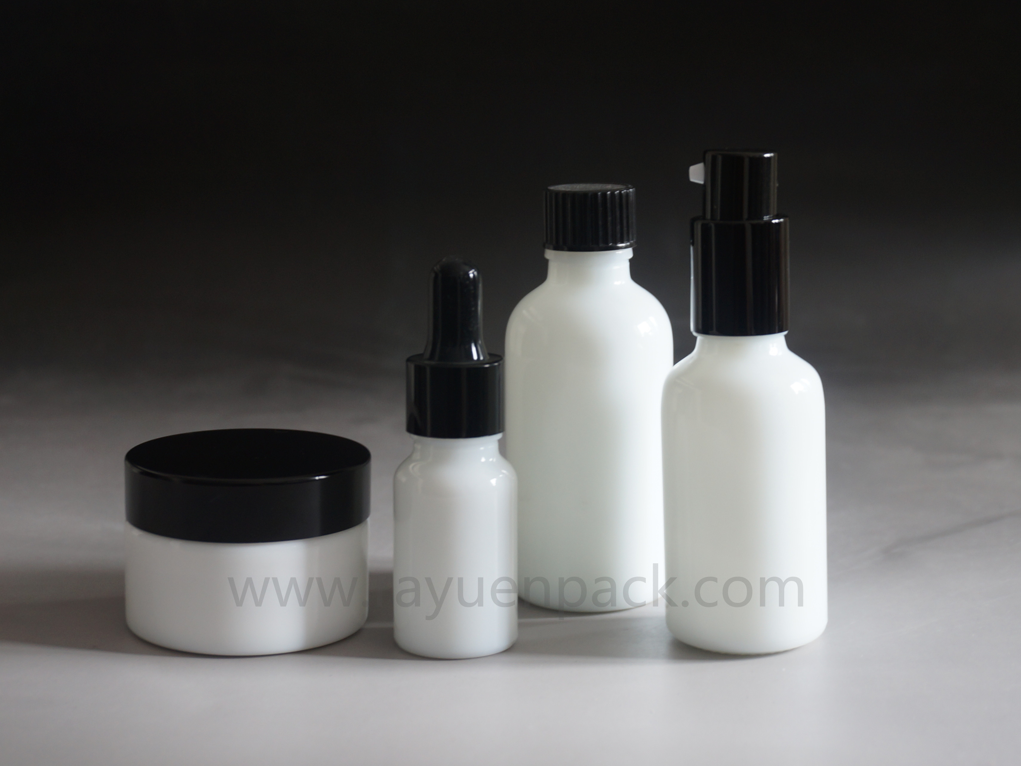 opaque white glass cosmetic container