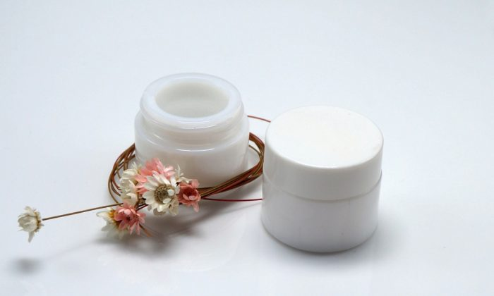 opaque white glass makeup containers