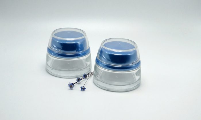 50ml glass jar for cosmetics and skin care, clear, frosted, color spray and printing is available