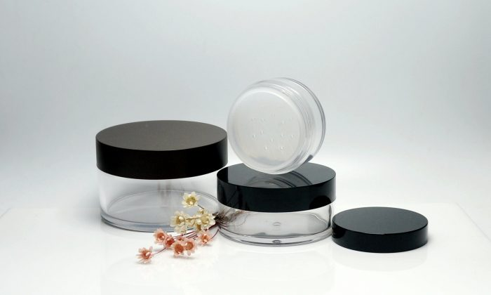 plastic cosmetic loose powder jars with sifter