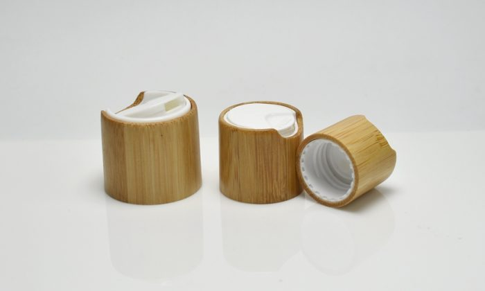 bamboo cosmetic bottle cap with dispensing system