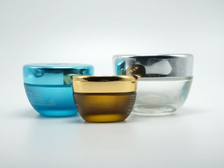 glass cosmetic containers, glass face cream jars, glass skin care packaging