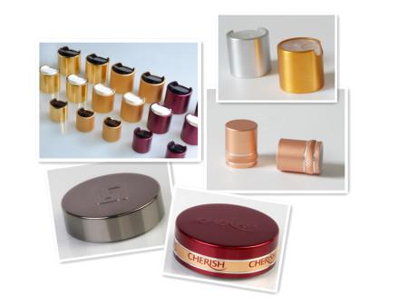 metal aluminum disc top caps, dispensing lids closures