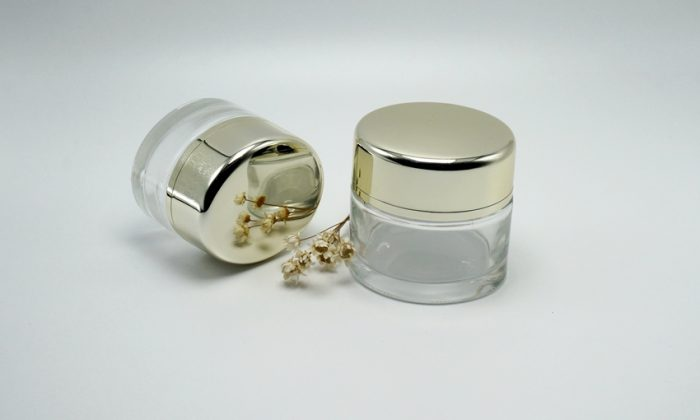 flint glass cosmetic containers for face cream, moistrurizer, facial mask packaging