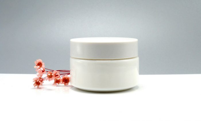 opal white glass face cream containers