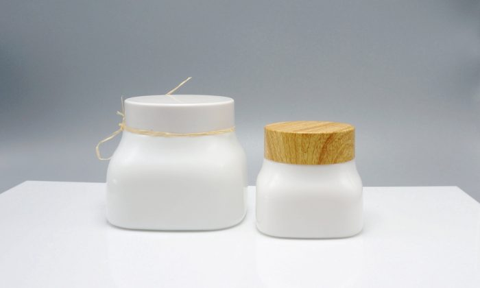 opaque white glass jars for face cream and facial mask packaging